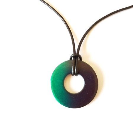 Upcycled Washer pendant necklace on leather cord Glimmer Green/Dark Purple