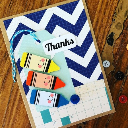 Teacher card - crayon thank you - thanks - gift present handmade - free post