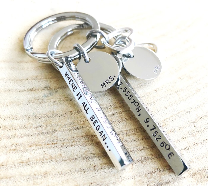 Wedding Day Gift, Mr and Mrs, Hand Stamped Keyring, Bridal