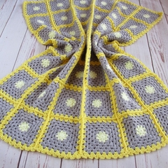 crochet baby blanket, baby shower gift, yellow grey lemon, keepsake, travel rug