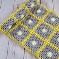 crochet baby blanket, baby shower gift, yellow grey lemon, keepsake, travel rug