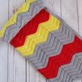 Chevron crochet baby blanket | grey, red, yellow | unisex | gift | baby shower