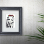 Lola - Graphite A5 Art Print Wall Art Girls Room Gift Nursery Decor