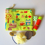 Coin purse, pouch in green Woodland animal cotton print