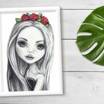 Lola - Graphite A4 Art Print Wall Art Girls Room Gift Nursery Decor