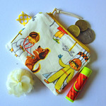 Coin purse, zippered pouch in a vintage print
