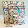 Quilted Project Bag Set, Cross Stitch Bag, Sewing Bag Set, Embroidery Bag Set