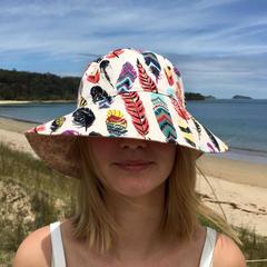 Reversible Bucket Hat, Reversible Sun Hat, Adult Beach Hat