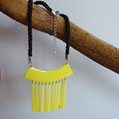 Recycled lime green metal fringed necklace