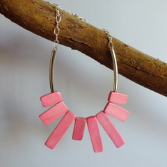 Recycled pink wooden disc necklace on silver chain
