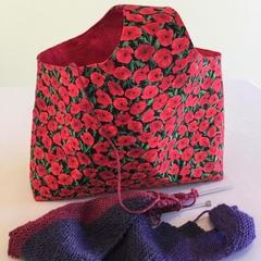 Over-Arm Craft Bag,  Knitting or Crochet Bag