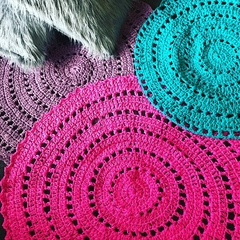Bright Pink Crochet floor rug