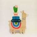 Hand painted Wooden LULU Llama Stacker  with Rainbow Coat.