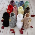 Crochet baby booties, stay on newborn boots, pregnancy announcement, gift, beige