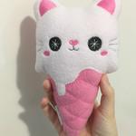 Cute Ice Cream Kitty Large Cat Plush Toy Handmade Gift Kawaii Pink