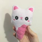 Cute Ice Cream Kitty Medium Cat Plush Toy Handmade Gift Kawaii Pink