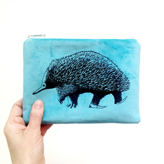 Screen printed echidna pouch / clutch / purse / wallet