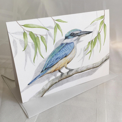Sacred Kingfisher greeting card Australian wildlife art, gum leaves