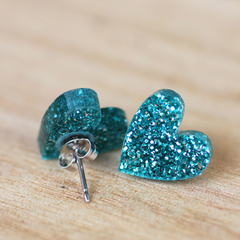 Teal Green Glitter Heart Studs - Sparkling Acrylic Earrings - Gift Idea