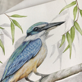 Sacred Kingfisher greeting card Australian wildlife art, gum leaves