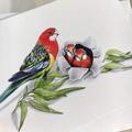 Eastern Rosellas - Australian wildlife art greeting card. bright colourful