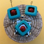 Altered Art Pendant and Earrings Set: Hand Made