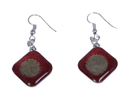 Hand Painted Red and Silver Earrings