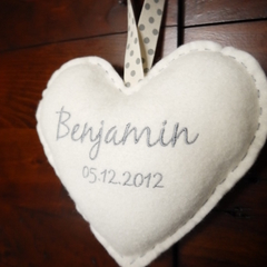 Personalised Embroidered Hanging Heart | New Baby | Keepsake