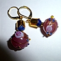 Pink lamp work and sapphire earrings