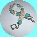Aquamarine and baroque pearl bracelet.