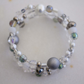 White and Silver Beaded Wrap Bangle