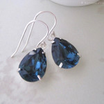 Dainty Blue Crystal Earrings, Bridesmaid Earrings - Created with crystals from S