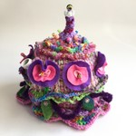 Unique pretty colourful 2-3 cup embellished crochet tea cosy with beads and more
