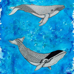 """""""Whales"""" - Ink and Watercolour  Wall Art 40cm x 50cm"""