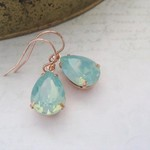 Swarovski Crystal Pacific Opal Simple Delicate Mint Teardrop Dangling Rose Gold