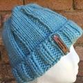 Knitted blue beanie, blue knit beanie, ladies blue beanie, blue tiffany beanie,