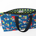 Navy knitting bag with panda and toadstools