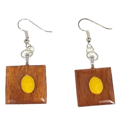 Rosewood Earrings with Yellow Accents