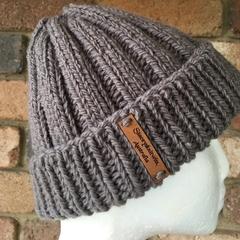 Handmade knitted grey beanie, mens grey beanie, ladies grey beanie, mens hat