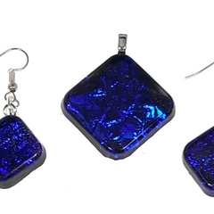 Sparkling Purple Blue Earrings and Pendant