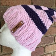 Handmade knitted pink beanie, pink purple merino slouch beanie, ladies pink slou