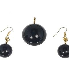 Basic Black Round Jewellery Set