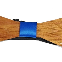 Exquisite Wooden Bow Tie with Blue Band