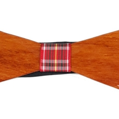 Elegant Wood Bow Tie with Tartan Band