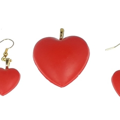 Bold Red Earrings and Pendant