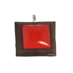 Gum Wood Pendant with Red Accent