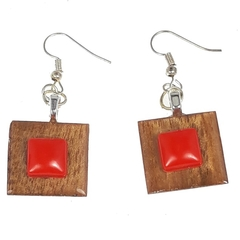 Gum Wood with Red Accent Earrings