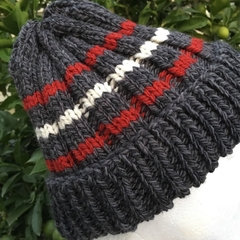 Handmade knitted grey beanie, grey knit hat, mens striped beanie, ladies red bea