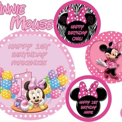 Minnie Mouse Baby 1st Birthday Round Edible Image Real Icing personalised Cake T