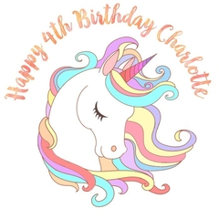Unicorn Personalised Edible Image Real Icing Cake Topper